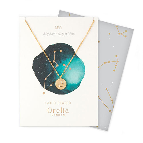Orelia Constellation Disc Necklace - Leo