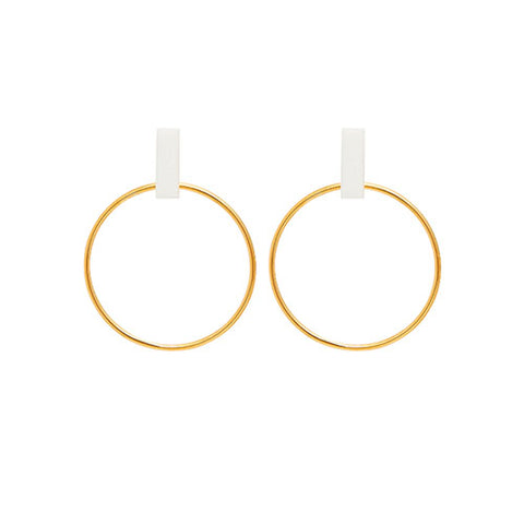 Louise Kragh Loop Earrings with White Porcelain