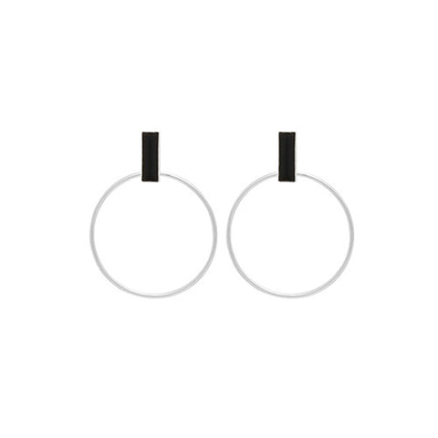 Louise Kragh Silver Loop Earrings with Black Porcelain
