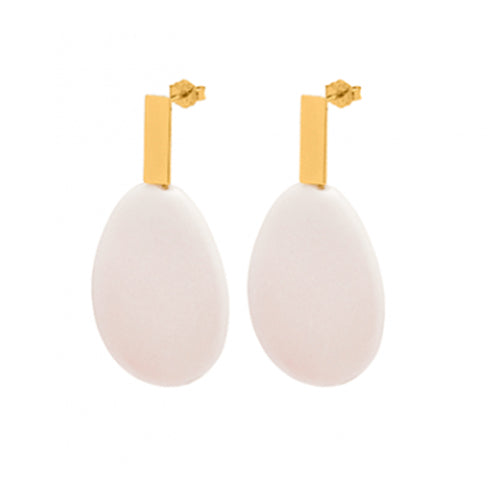 Louise Kragh - Louise Kragh Rose Pink Porcelain Earrings - Designer Earrings - Silverado