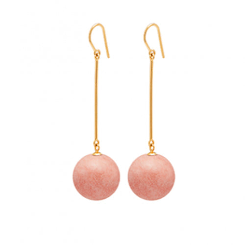 Louise Kragh - Louise Kragh Coral Pink Porcelain Pearl Drop Earrings - Designer Earrings - Silverado