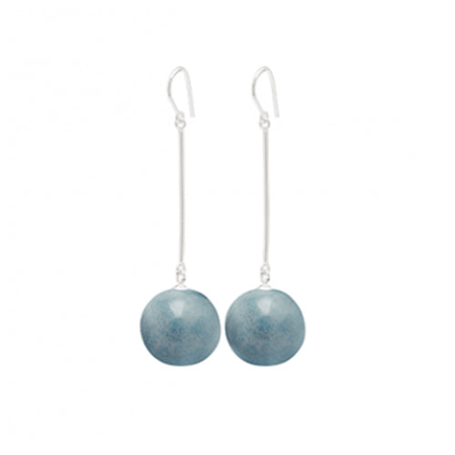 Louise Kragh - Louise Kragh Silver and Shadow Blue Porcelain Pearl Drop Earrings - Designer Earrings - Silverado