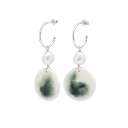Louise Kragh - Louise Kragh Silver and Hand Painted Marble Green Porcelain Earrings - Designer Earrings - Silverado
