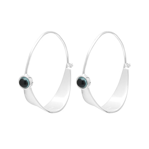 Louise Kragh - Louise Kragh Silver Fall Hoop Earrings - Designer Earrings - Silverado