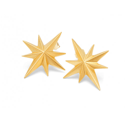 Louise Kragh - Louise Kragh Compass Star Stud Earrings - Designer Earrings - Silverado