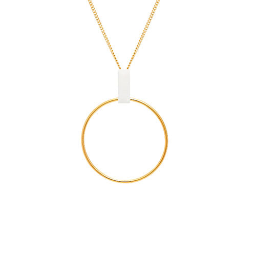 Louise Kragh - Louise Kragh Loop Necklace with White Porcelain - Designer Necklaces - Silverado
