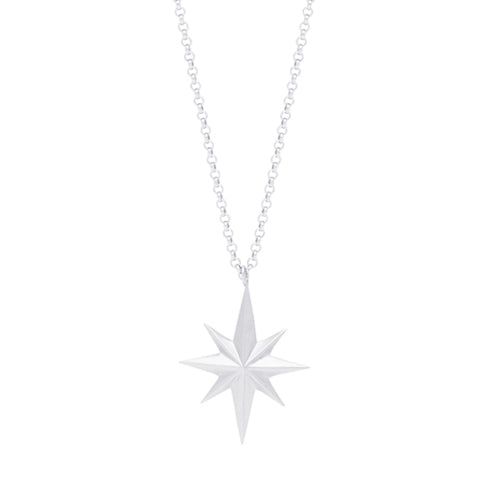 Louise Kragh - Louise Kragh Silver Compass Star Necklace - Designer Necklaces - Silverado