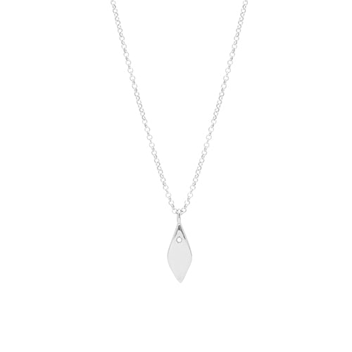 Louise Kragh Raw Diamond and Silver Petal Necklace