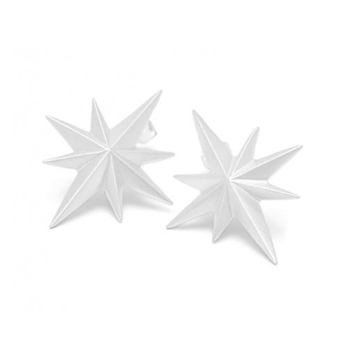 Louise Kragh - Louise Kragh Silver Compass Star Stud Earrings - Designer Earrings - Silverado