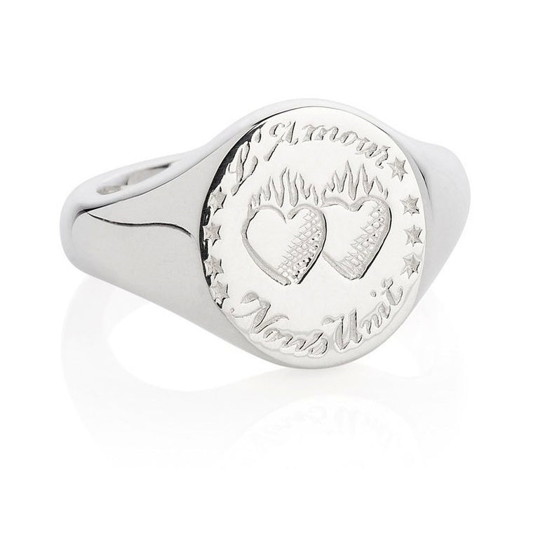 Laura Lee - Laura Lee Love Unites Us Signet Ring - Designer Rings - Silverado