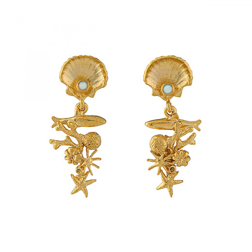 Alex Monroe - Alex Monroe Coral Reef Drop Earrings - Designer Earrings - Silverado