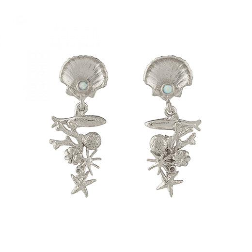 Alex Monroe - Alex Monroe Silver Coral Reef Drop Earrings - Designer Earrings - Silverado