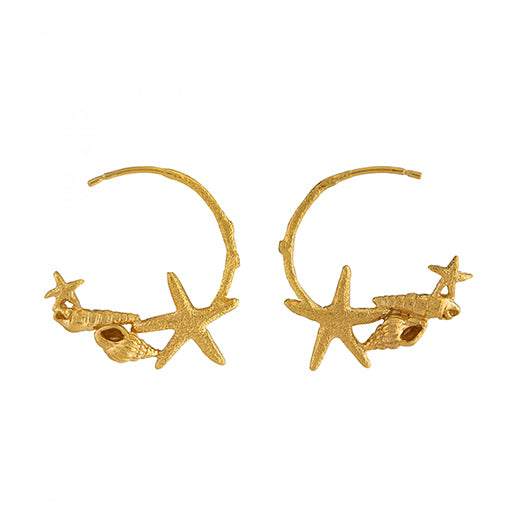Alex Monroe - Alex Monroe Starfish and Shell Hoop Earrings - Designer Earrings - Silverado