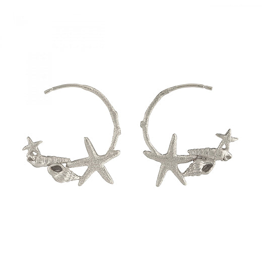Alex Monroe - Alex Monroe Silver Starfish and Shell Hoop Earrings - Designer Earrings - Silverado