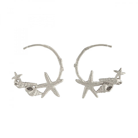 Alex Monroe Silver Starfish and Shell Hoop Earrings