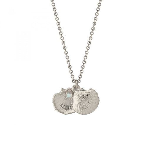 Alex Monroe - Alex Monroe Silver Open Shell Necklace with Opal - Designer Necklaces - Silverado