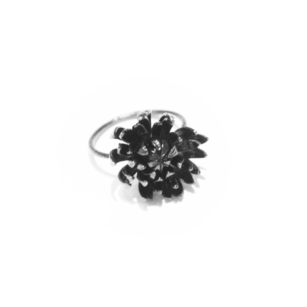 Alex Monroe Sale - Alex Monroe Ruthenium Plated Chrysanthemum Ring - Designer Rings - Silverado