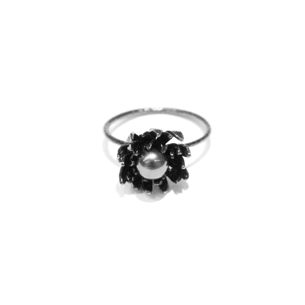 Alex Monroe Sale - Alex Monroe Ruthenium Plated Chrysanthemum and Pearl Ring - Designer Rings - Silverado