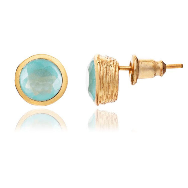 Azuni - Azuni Aqua Chalcedony Stud Earrings - Designer Earrings - Silverado