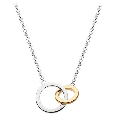 Sterling Silver - Gold and Silver Two Loop Necklace - silver necklaces - Silverado