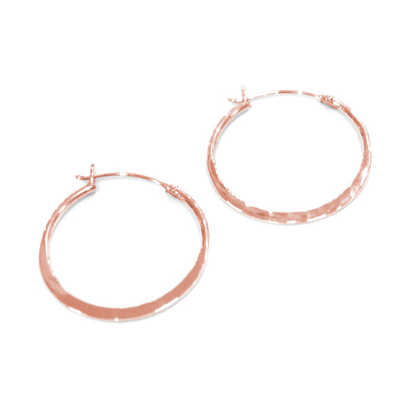 Otis Jaxon - Otis Jaxon Hammered Rose Hoops - Designer Earrings - Silverado