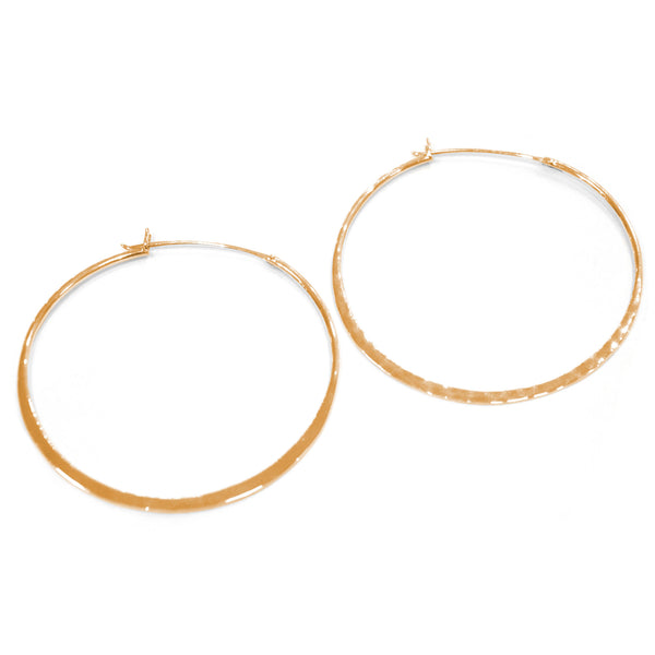 Otis Jaxon - Otis Jaxon Large Hammered Gold Hoops - Designer Earrings - Silverado