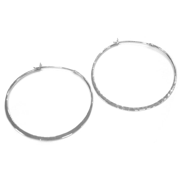 Otis Jaxon - Otis Jaxon Large Hammered Silver Hoops - Designer Earrings - Silverado