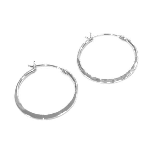 Otis Jaxon - Otis Jaxon Hammered Silver Hoops - Designer Earrings - Silverado