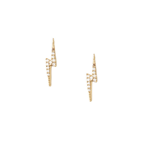 Orelia LUXE Pave Lightning Bolt Stud Earrings