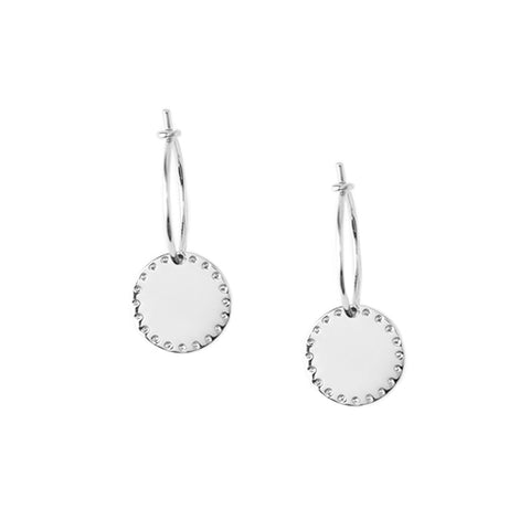 Orelia LUXE Silver Coin Hoop Earrings