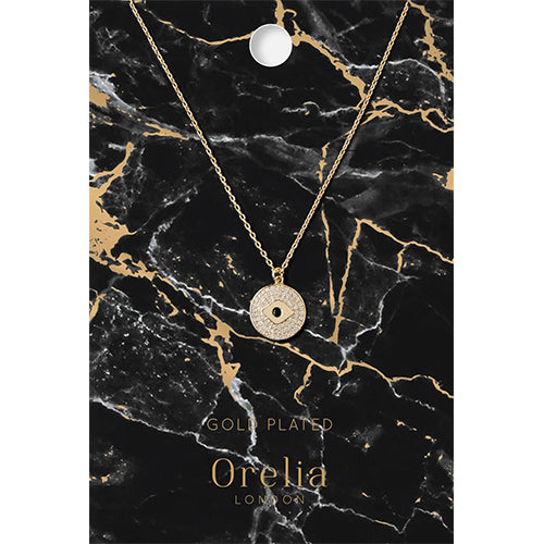 Orelia Sparkly Evil Eye Coin Necklace