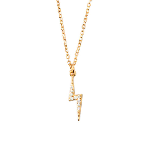 Orelia LUXE Pave Lightning Bolt Necklace