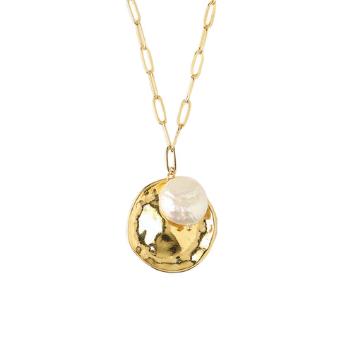 Orelia Molten Coin and Pearl Cluster Necklace