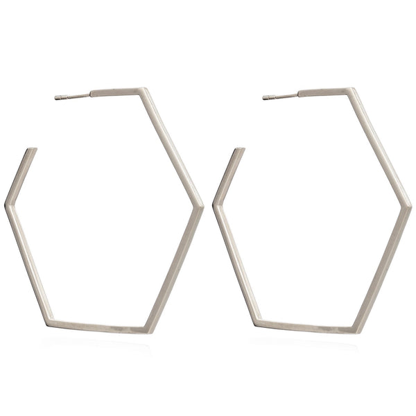 Rachel Jackson Silver Oversized Hexagon Hoops
