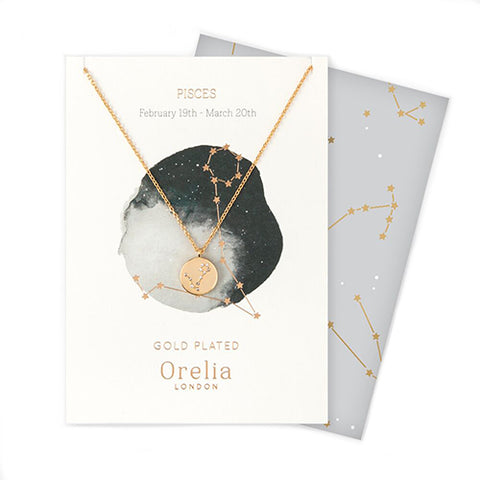 Orelia Constellation Disc Necklace - Pisces