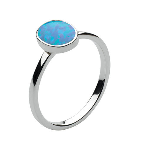 Sterling Silver - Blue Synthetic Opal Ring - Silver Rings - Silverado