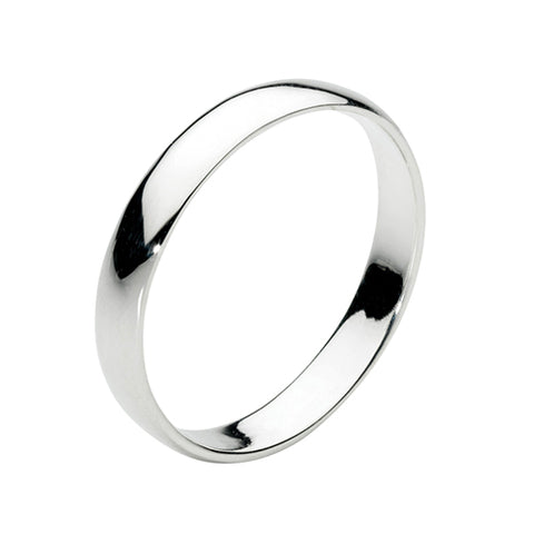Sterling Silver D-Shaped Ring - 3mm