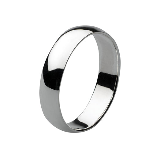 Sterling Silver D-Shaped Ring - 5mm