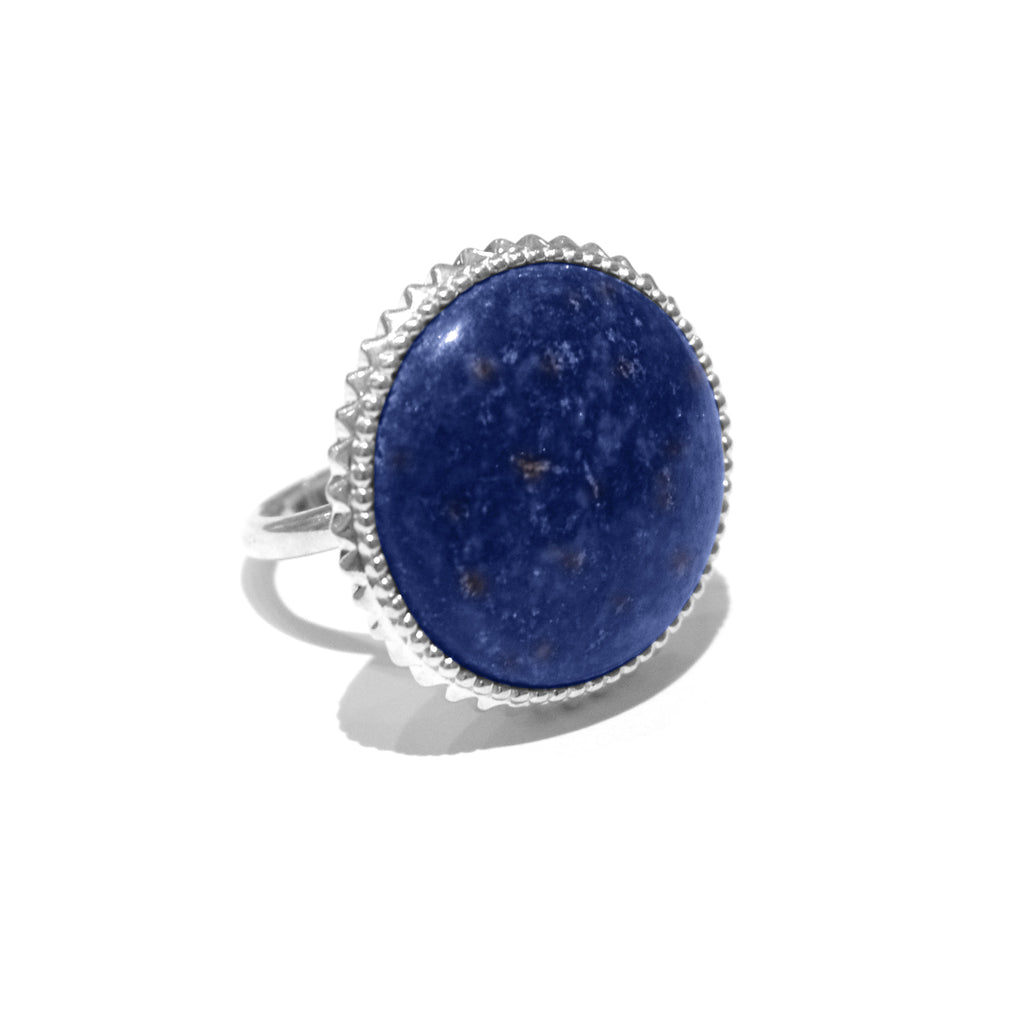 Silver Sale - Kit Heath Lapis Cocktail Ring - Designer Rings - Silverado