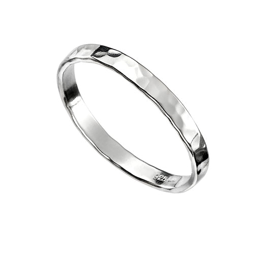 Sterling Silver - Hammered Band Ring - Silver Rings - Silverado