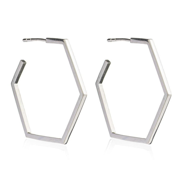 Rachel Jackson Large Silver Hexagon Hoops