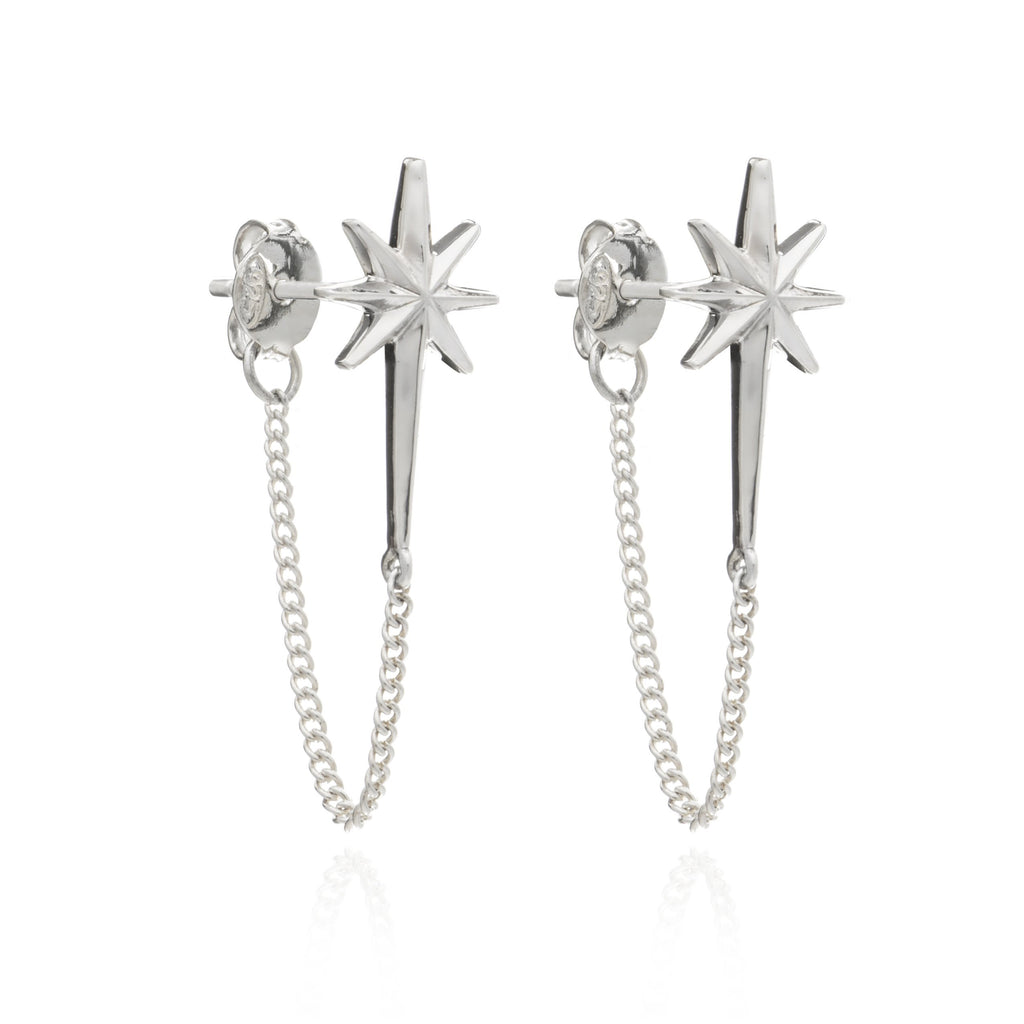Rachel Jackson Silver Rockstar Chain Earrings