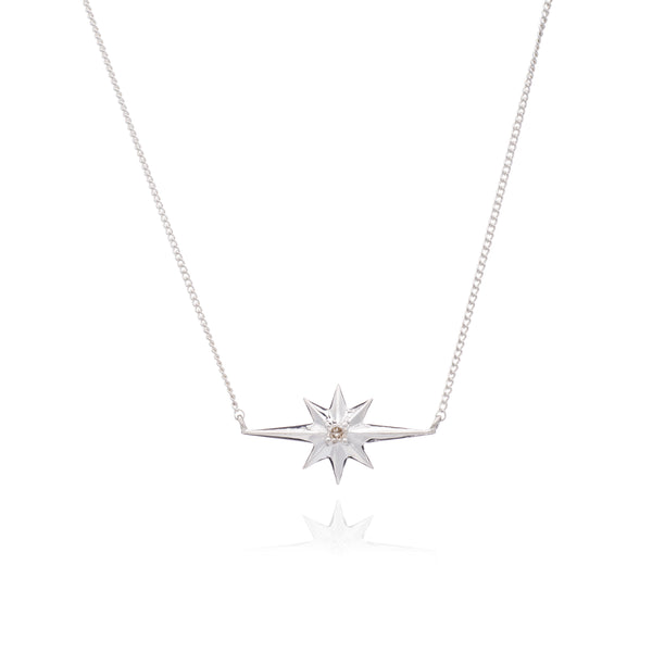 Rachel Jackson Silver Shooting Star and Diamond Necklace