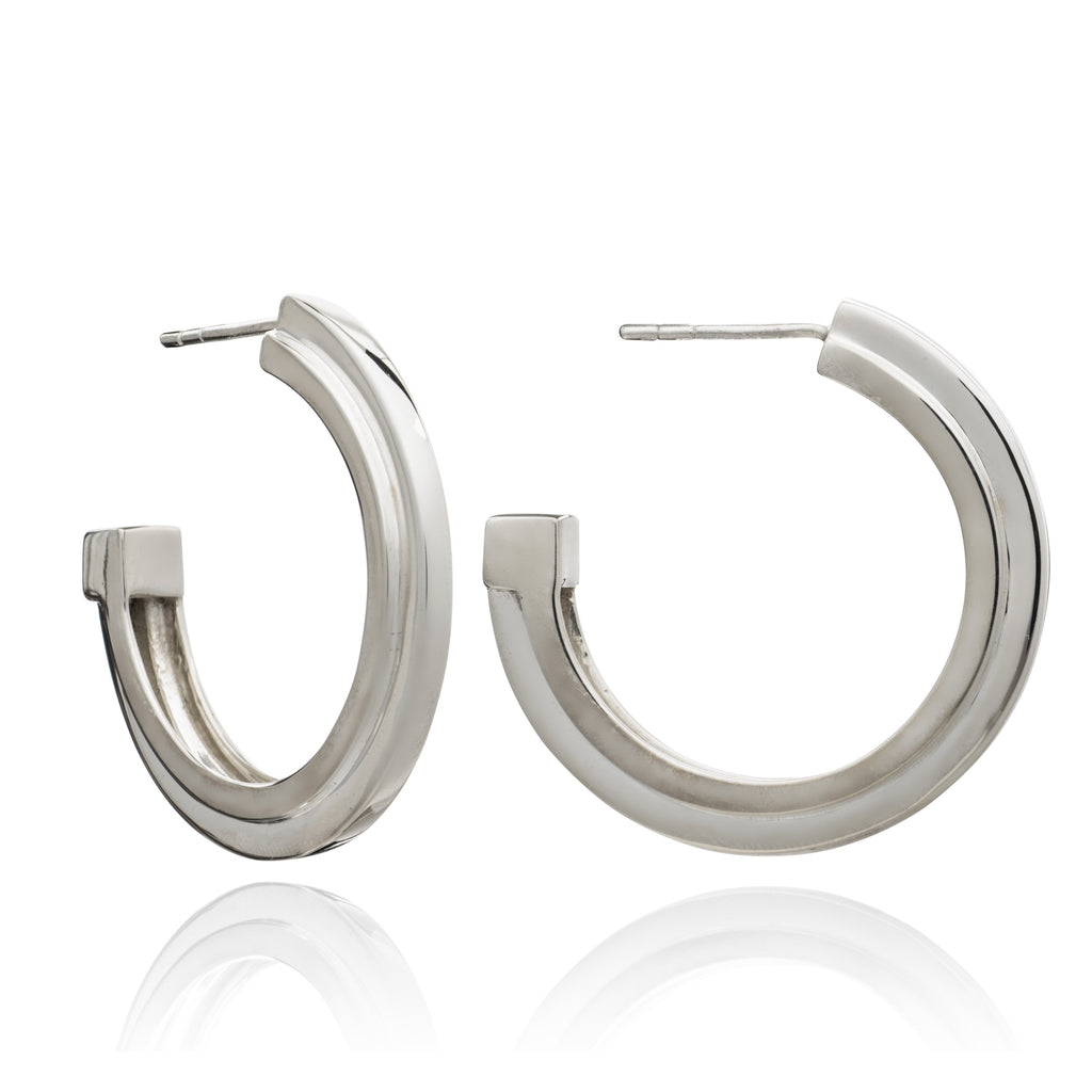 Rachel Jackson Silver Stepped Hoop Earrings