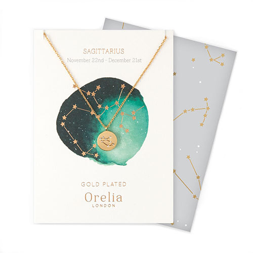 Orelia Constellation Disc Necklace - Sagittarius