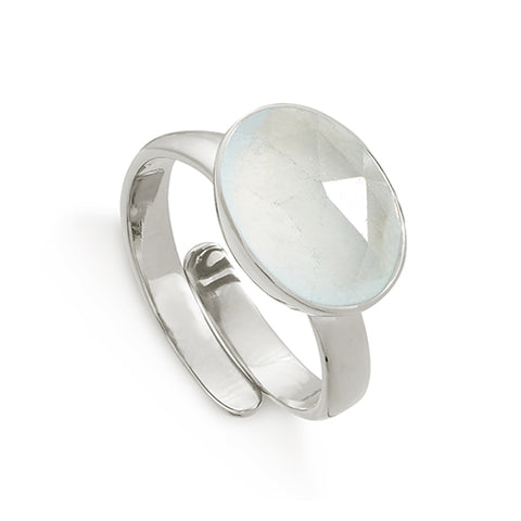 SVP Jewellery Silver and Aqua Quartz Atomic Maxi Ring