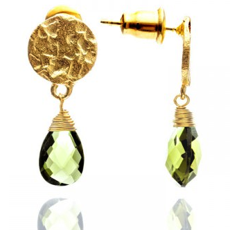 Azuni - Azuni Lemon Quartz Drop Earrings - Designer Earrings - Silverado