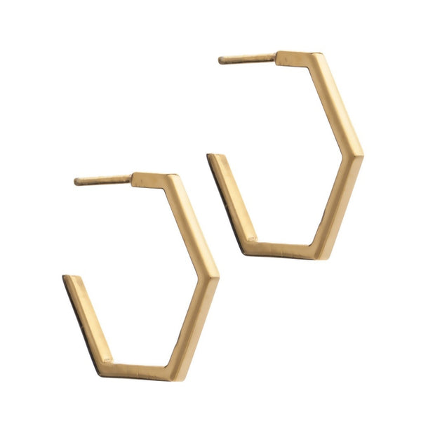 Rachel Jackson - Rachel Jackson Gold Hexagon Hoops - Designer Earrings - Silverado