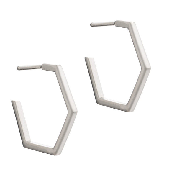 Rachel Jackson - Rachel Jackson Silver Hexagon Hoops - Designer Earrings - Silverado