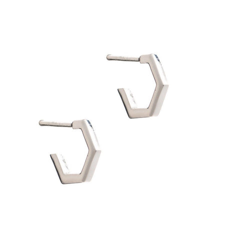 Rachel Jackson Mini Silver Hexagon Hoops